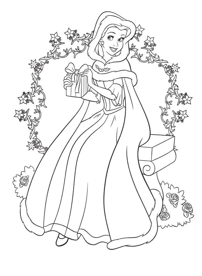 Disney Princess Gets A Gift At Christmas Coloring Pages ... | free printable disney princess christmas coloring pages