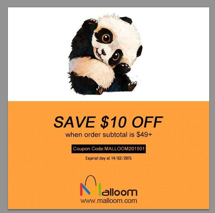 save $10 off  on malloom.com