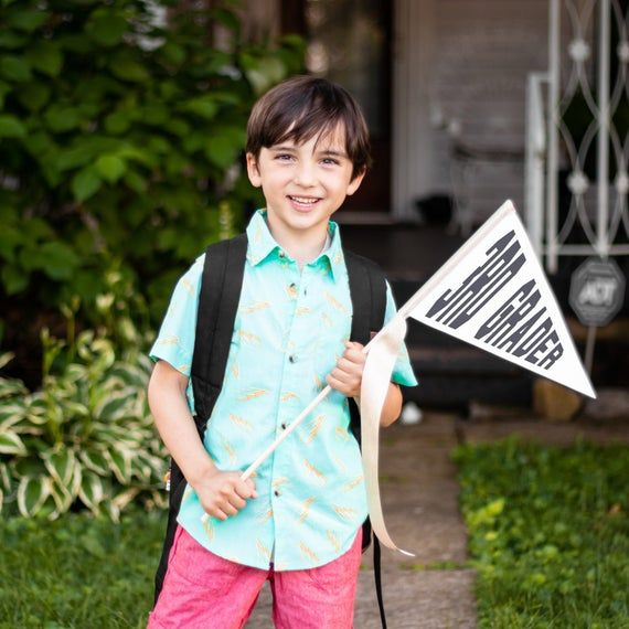 First Day of School Flag - Back To School Sign Kindergarten 1st Grade 2nd Grade 3rd Any Grade Pennan #firstdayofschoolhairstyles