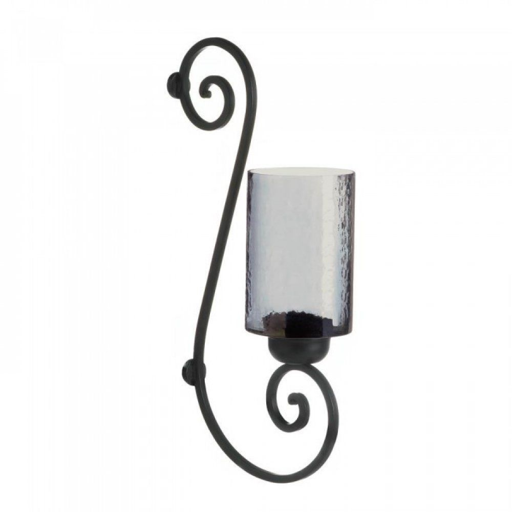 Details about Smoked Glass Wall Sconce Candle Holder Glow Light ...