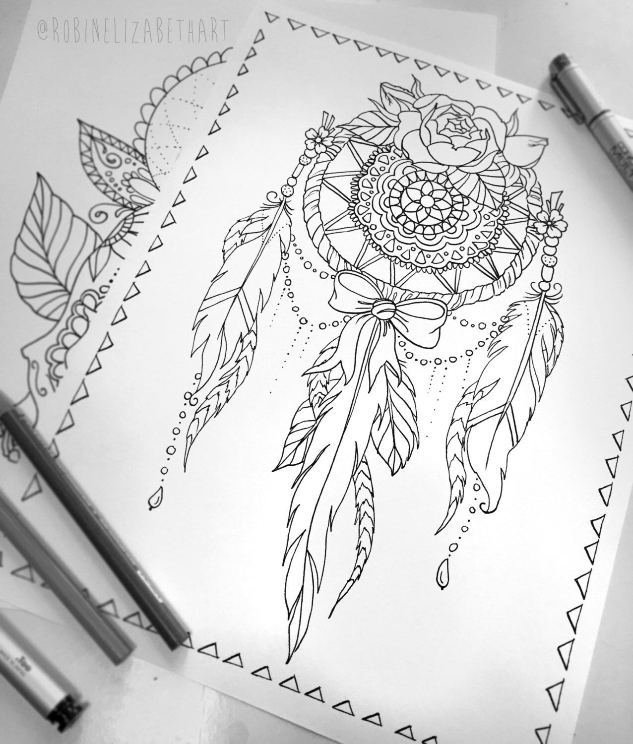 Lace Dream Catcher Coloring Page - Instant Download Print Your Own ...