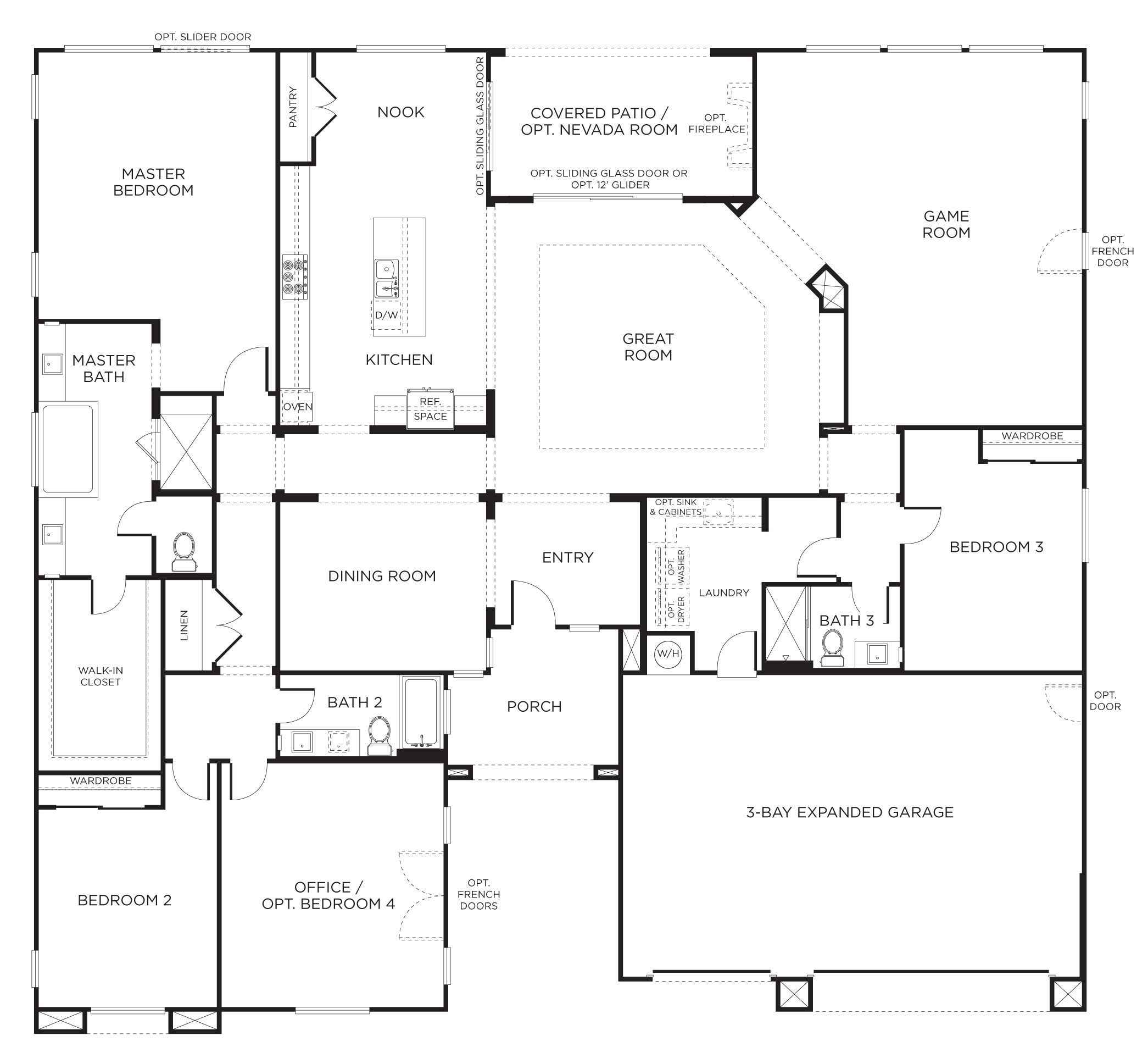 House plans 1 story covered patio