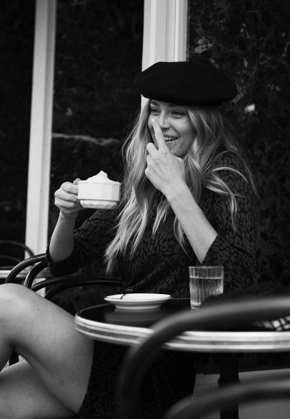 Black and white photo city cafe hats candid paris pictures