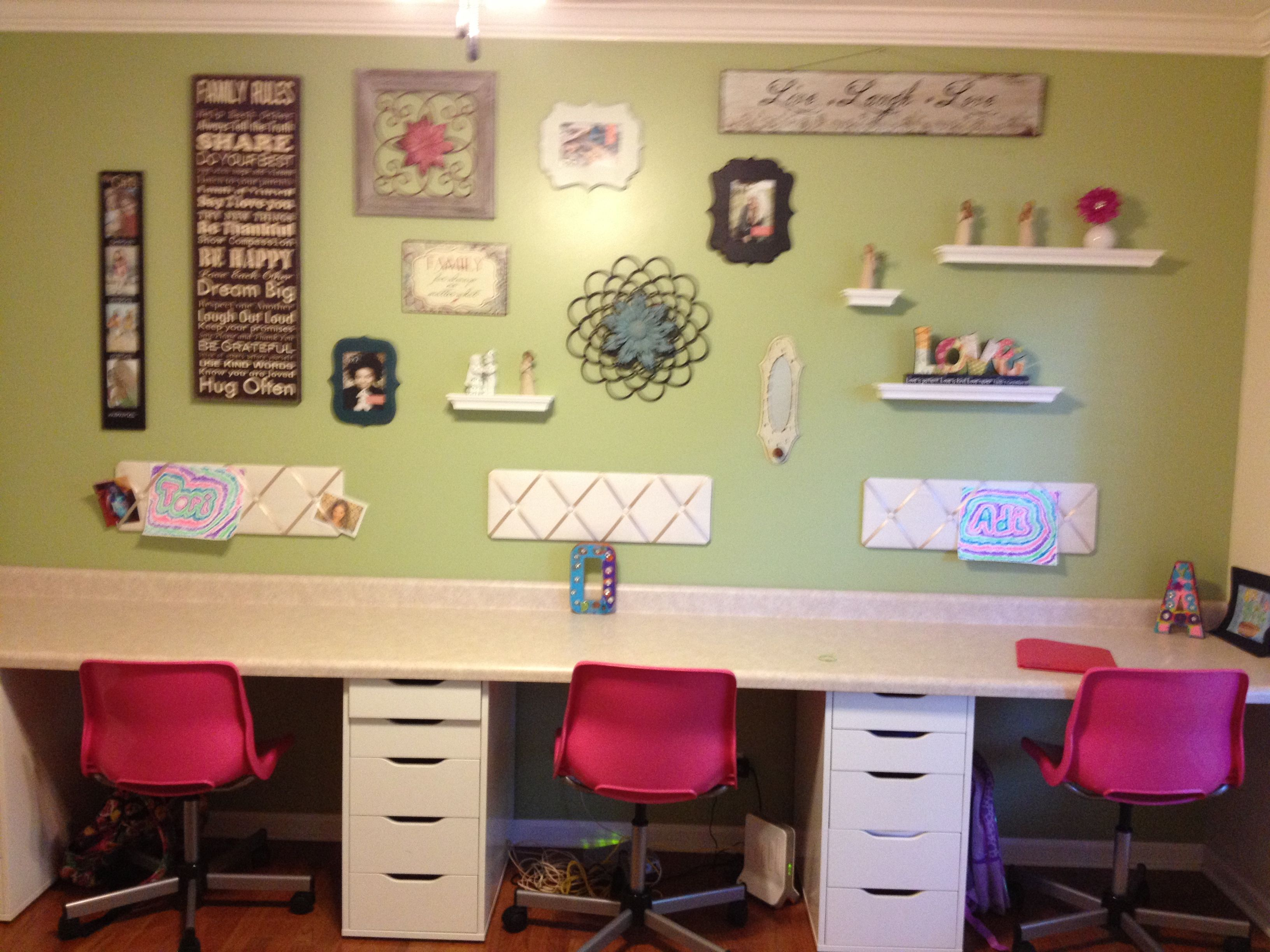 Kids office space. IKEA (desk drawers), Menards (counter top), wall ...