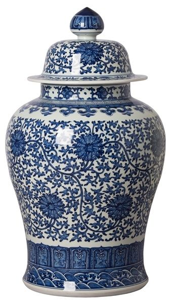 Instyle Decor Com Chinese Blue White Porcelain Temple Jars Beautiful Free Hand Painted Traditional Art Design Blue And White Vase White Jar Blue White Decor