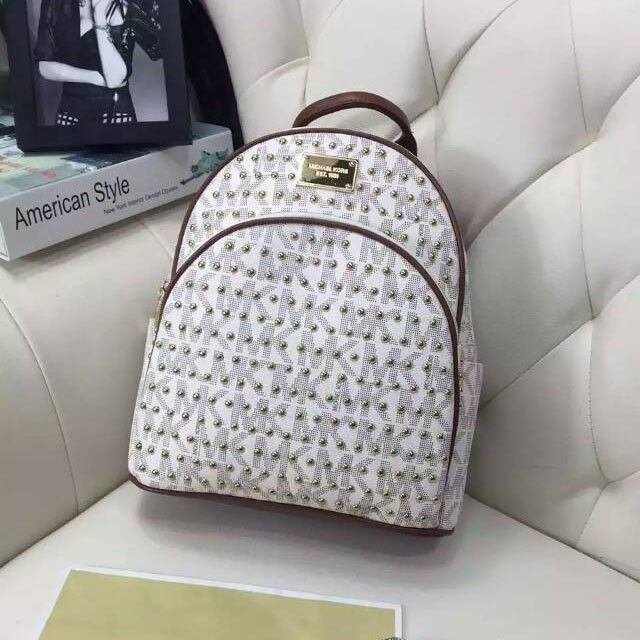 MICHAEL Michael Kors Micro-Stud Jet Set Travel Logo Leather Small Backpack White