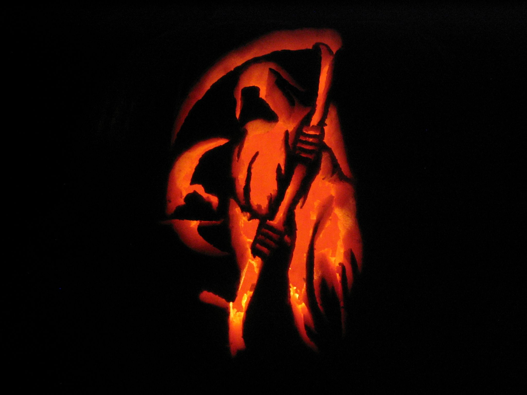 Grim reaper spooky halloween pumpkins
