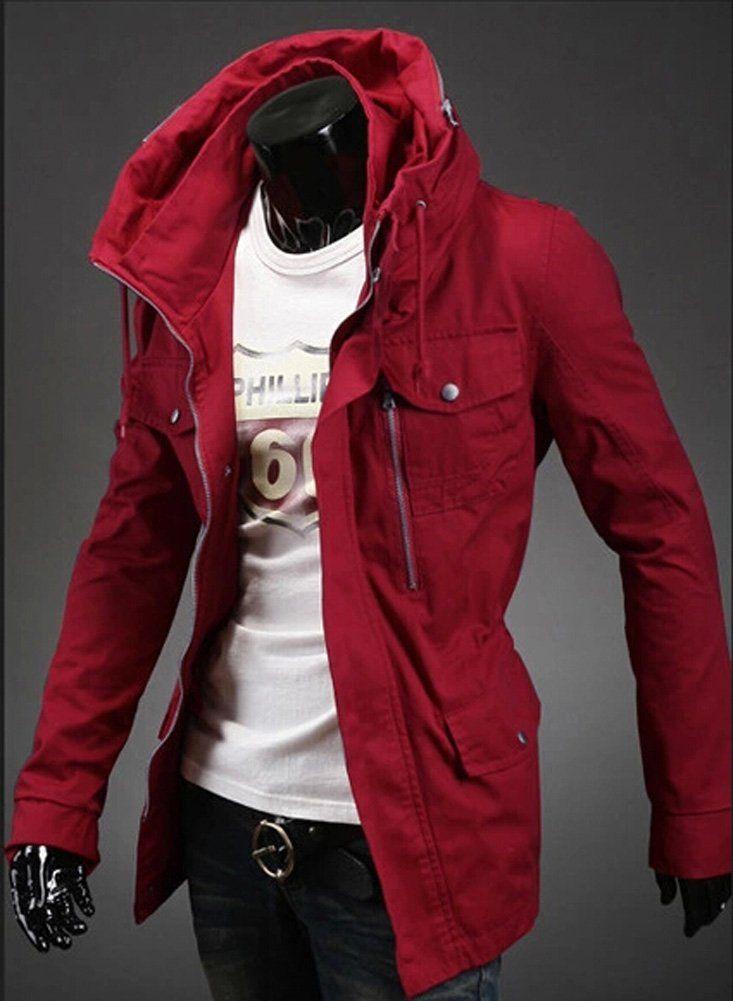 851f0f6fc Izaac new men military Slim Fit Jacket Coat Zip driver button casual ...