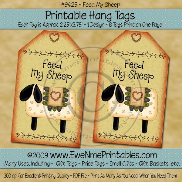 Hang Tags - Feed My Sheep