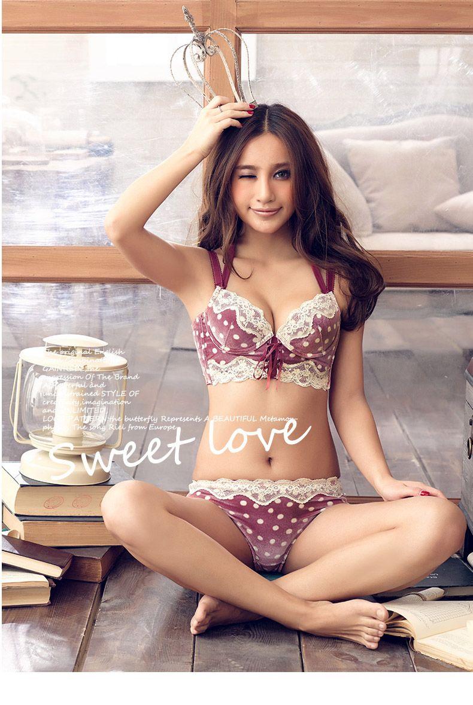 7c8e0d2edf9 gainreel warm velvet bag Halter lace girls gather lace bra + underwear  Underwear Set