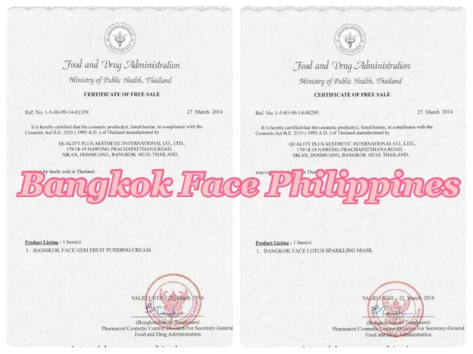 Hereu0027s a copy of Thailand FDA Certificate of Free Sale for our Gem - copy certificate picture