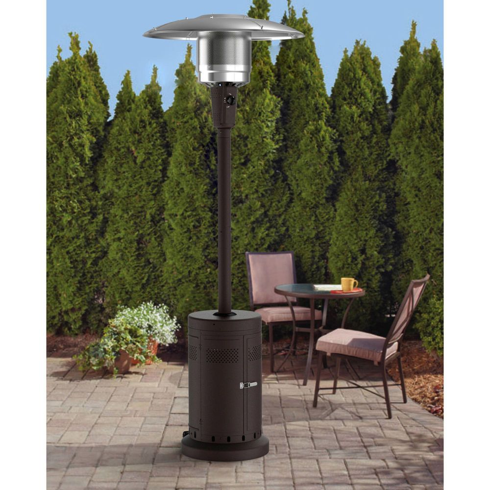 Large Patio Outdoor Heater Powder Coat Brown Wheels For