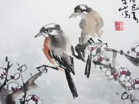 Pie Bird Standing On White Plum Branch Painting Asian Watercolor