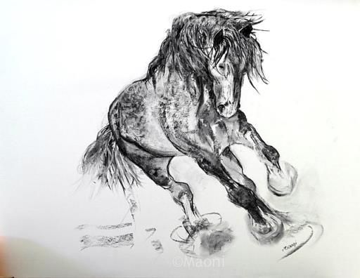 Pin by kim anglin on tattoos pinterest fusain dessin and peinture cheval - Comment dessiner un cheval au galop ...