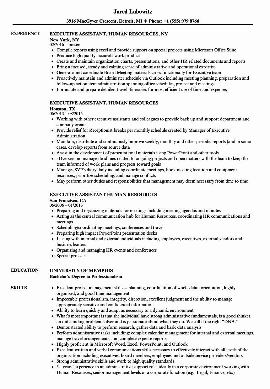 Hr assistant Job Description Resume Elegant Executive