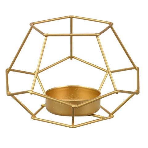 d9c59ad64e Click here to enlarge Luminessence Gold Geometric Iron Tealight  Candleholders, 2.65 x 4.1 in.