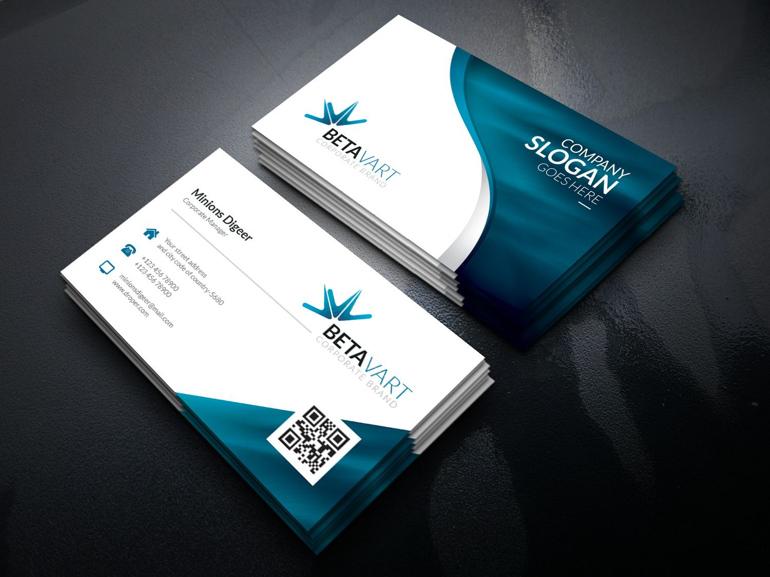 Halley Corporate Identity Brand Pack Graphic Templates Corporate Business Card Business Card Template Letterpress Business Cards