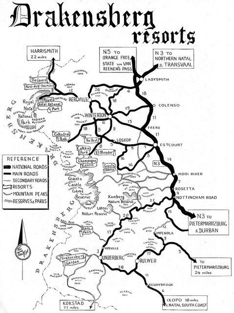 Drakensberg Resorts Road Map | Trots Suid-Afrikaans ...