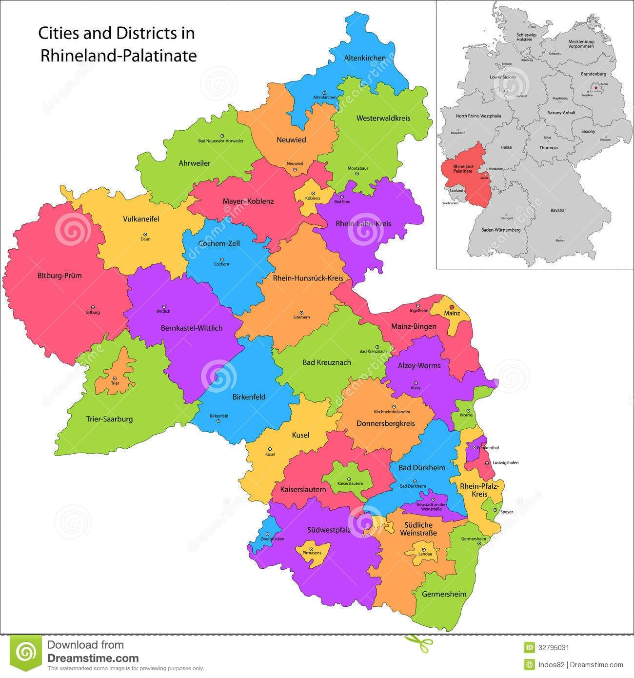 Administrative division of Germany Map of RhinelandPalatinate with