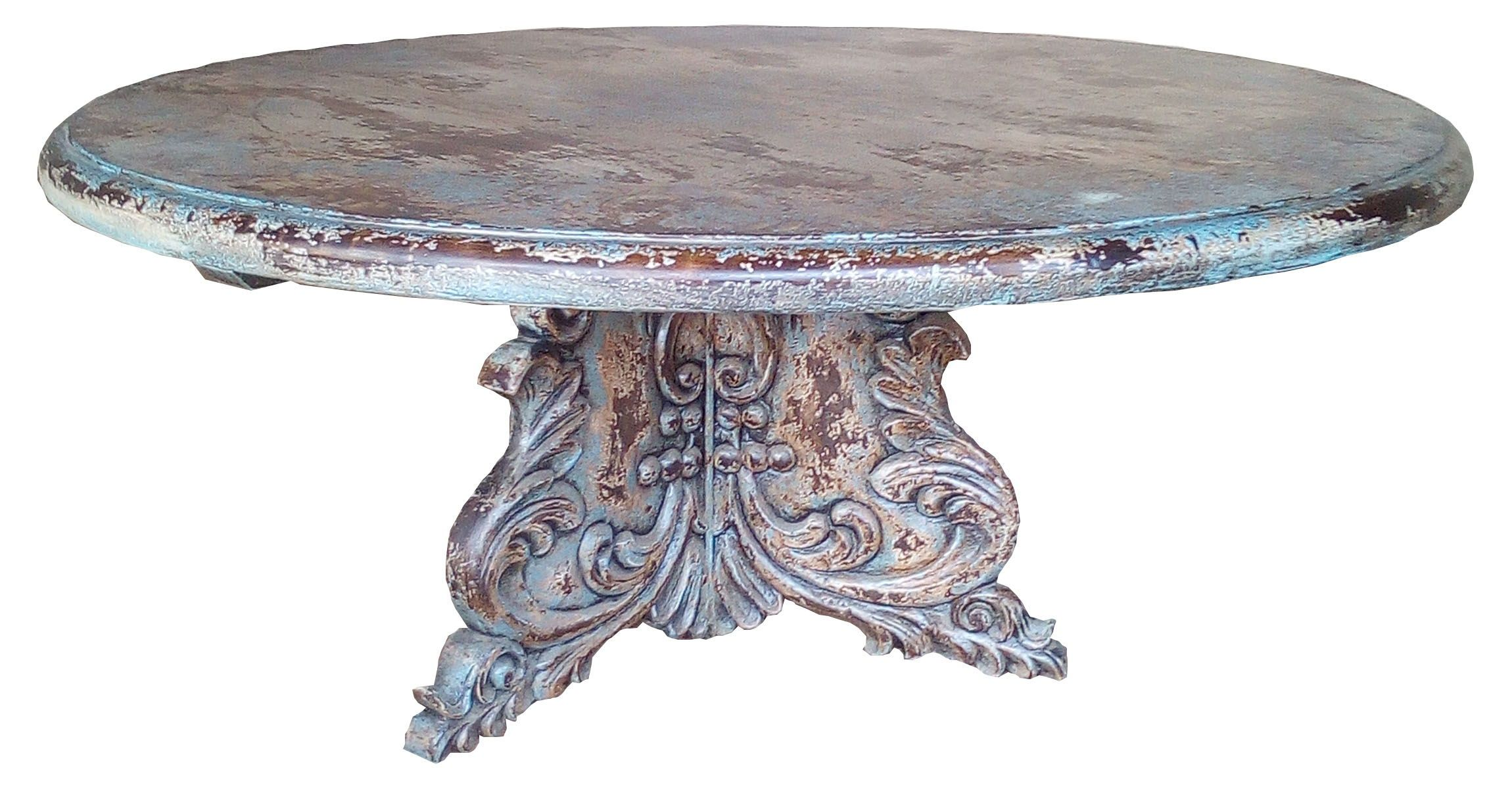 Mediterranean Style Round Dining Table With Hand Carved Bed Soft Blues Gray Colors And White Un Western Home Decor Elegant Furniture Mediterranean Home Decor [ 1200 x 2300 Pixel ]