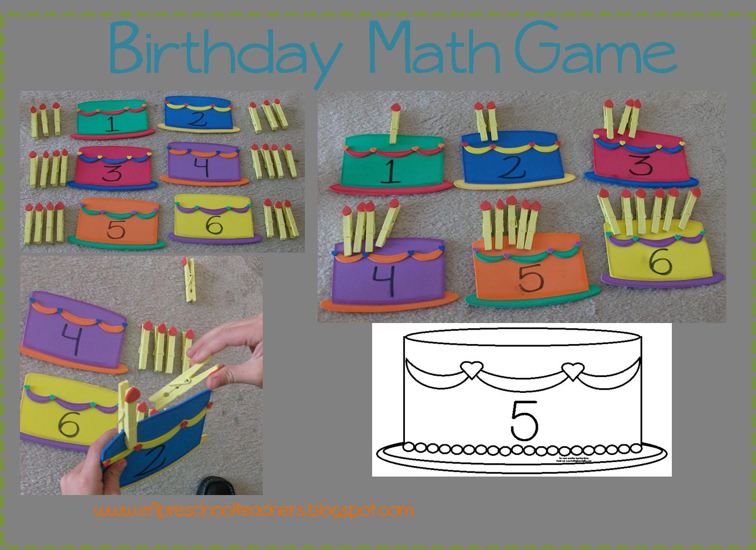 Esl Birthday Theme Cake And Candle Match Math