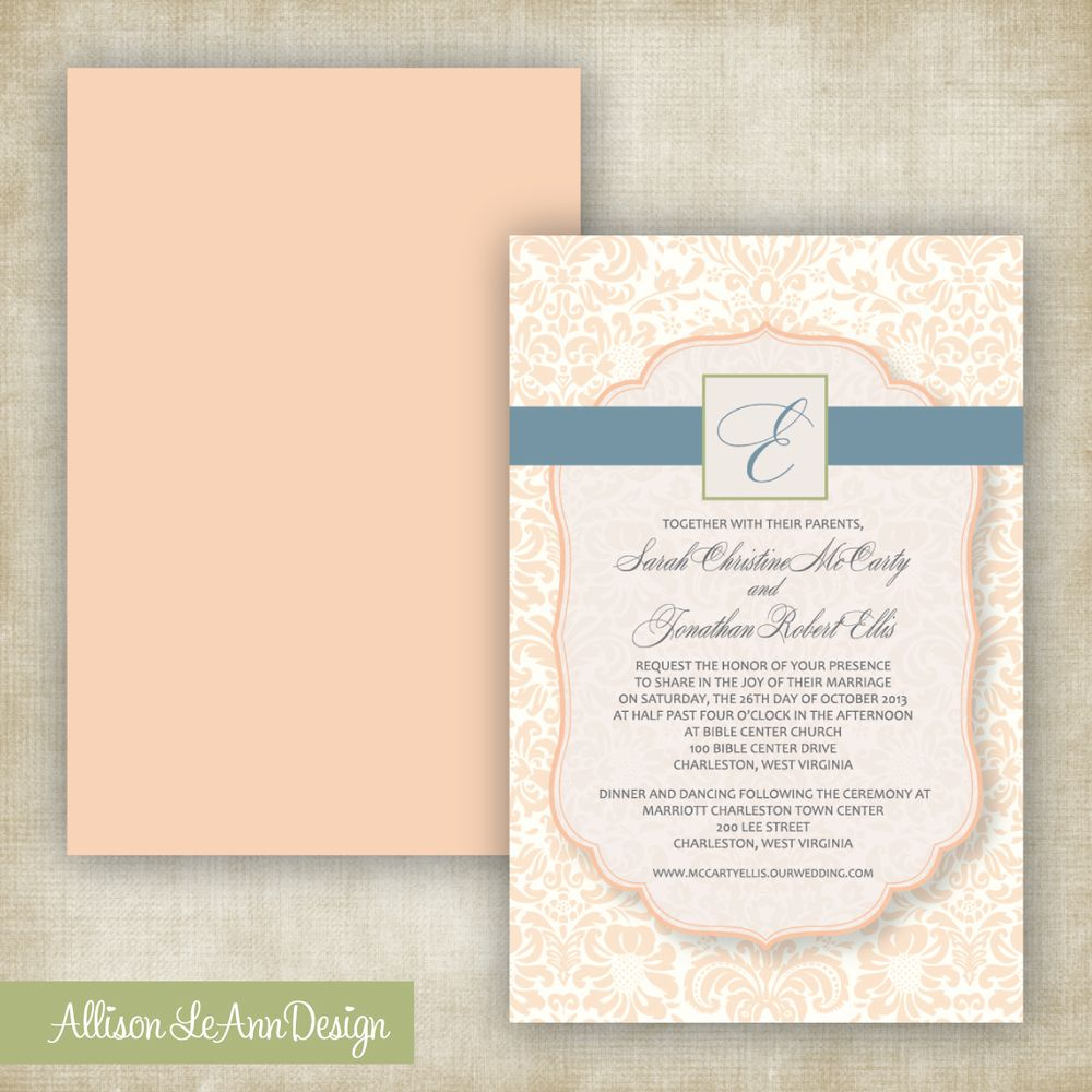 Professionally printed on premium 80 lb glossy card stock damask wedding invitation peach natural green slate blue by allison leann design stopboris Image collections