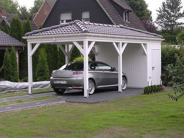 Wooden carport solid roof garage shed ideas house exterior for Boat storage shed plans