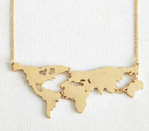 If youre going to wear a statement necklace let it make a gold world map necklace world travel jewelry gumiabroncs Choice Image