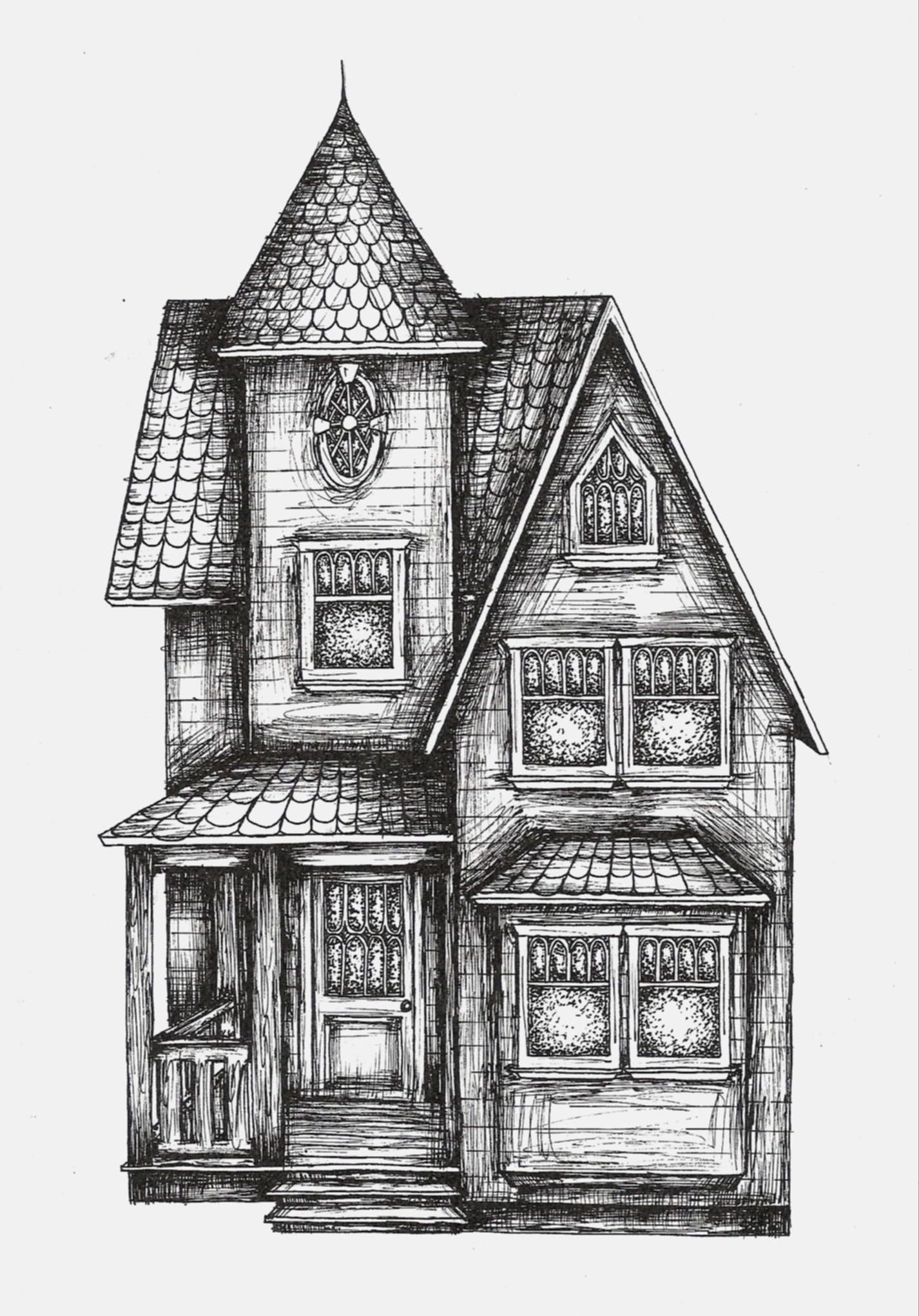House Sketch Gallery Graphic Sketch House Portraits By Artist