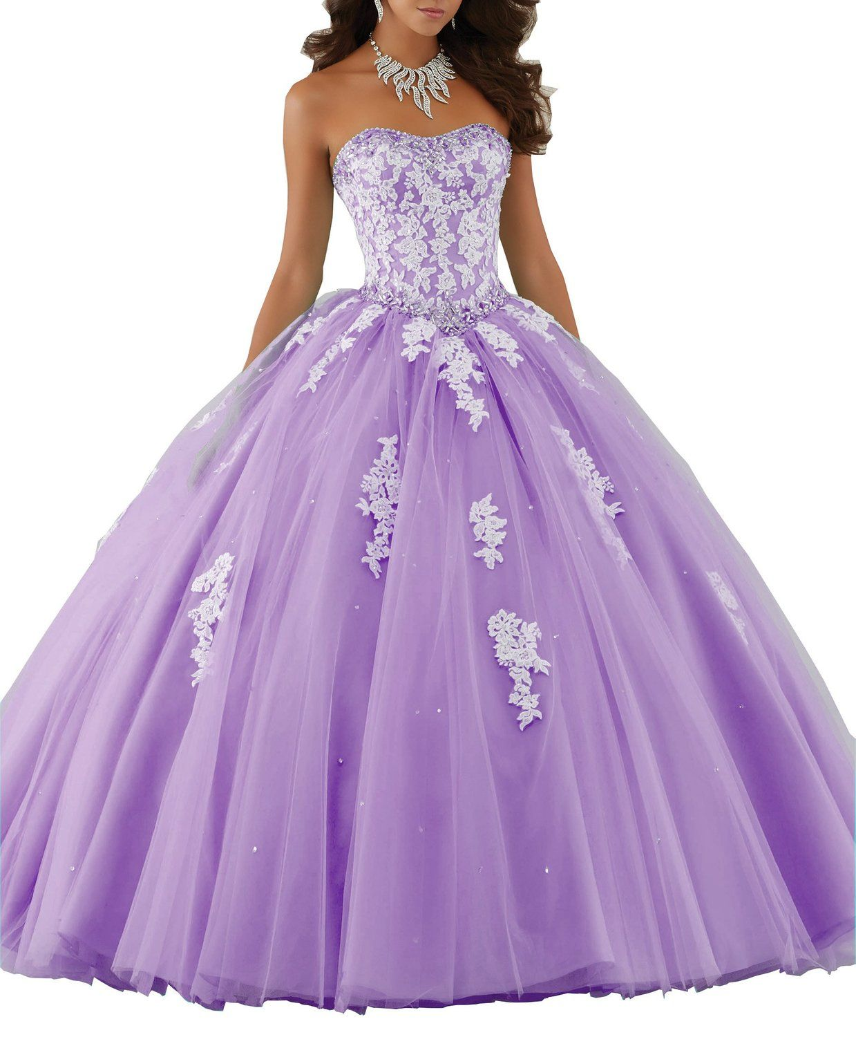 Elley Women\'s Lace Applique Floor Length Tulle Ball Gown Quinceanera ...