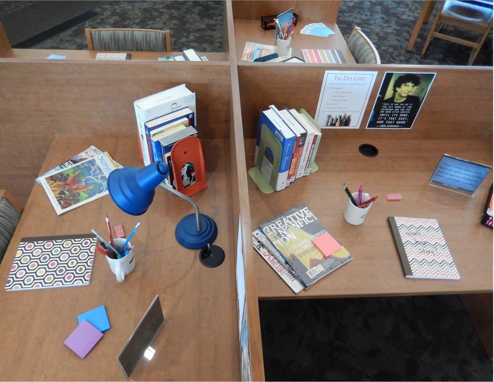 National Novel Writing Month - writing stations set up in study carrels