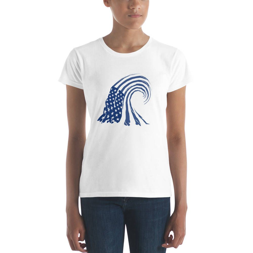 Blue wave womens short sleeve tshirt with images