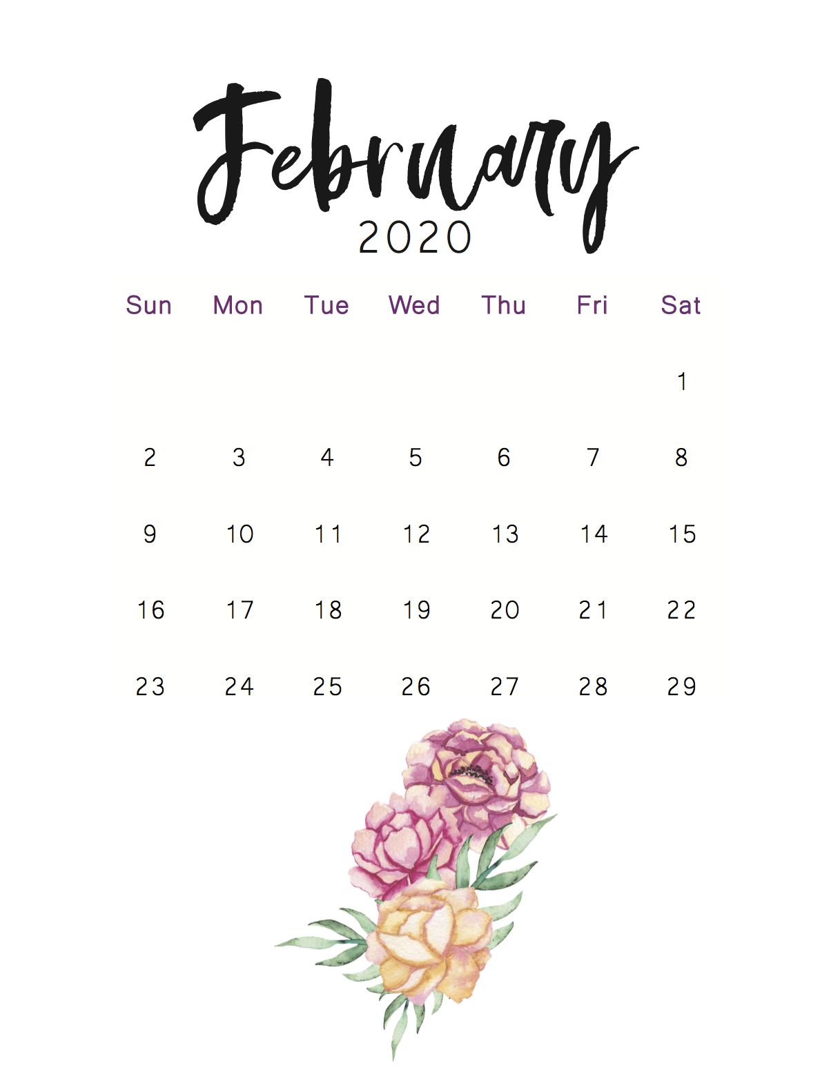Calendrier Salon Vintage 2021 30 Free February 2020 Calendars for Home or Office   Onedesblog in
