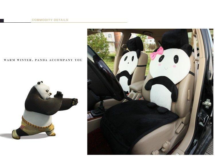 Panda Universal Auto Car Seat Covers Set Cartoon Cover Sets