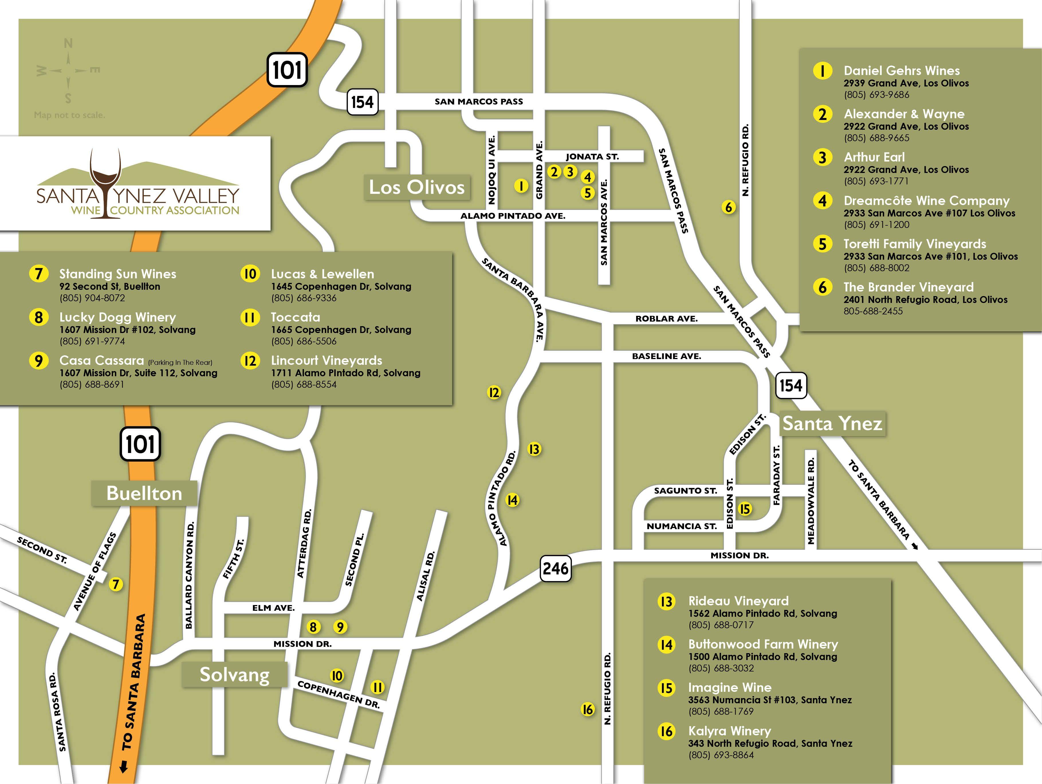 Santa Ynez Wine Country  Santa Yenz Wine Country  Printable Map