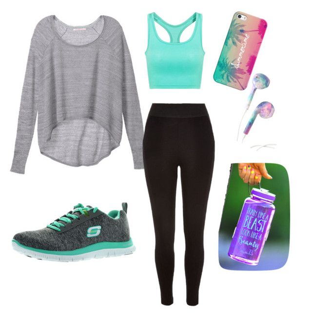 """""""Summer fit☀️"""" by johannamariie on Polyvore featuring Victoria's Secret, River Island, Skechers and Casetify"""