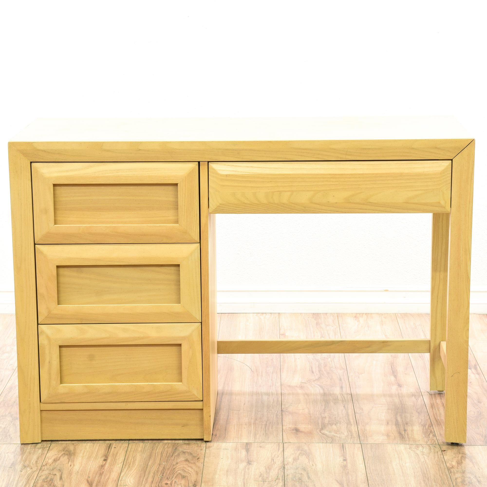 This Stanley Desk Is Featured In A Solid Wood With Gorgeous Light Blonde Finish Contemporary Writing Has 4 Drawers Carved Trim And