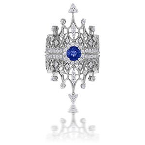 Maria Tash white gold,diamond and sapphire double crown ring. love