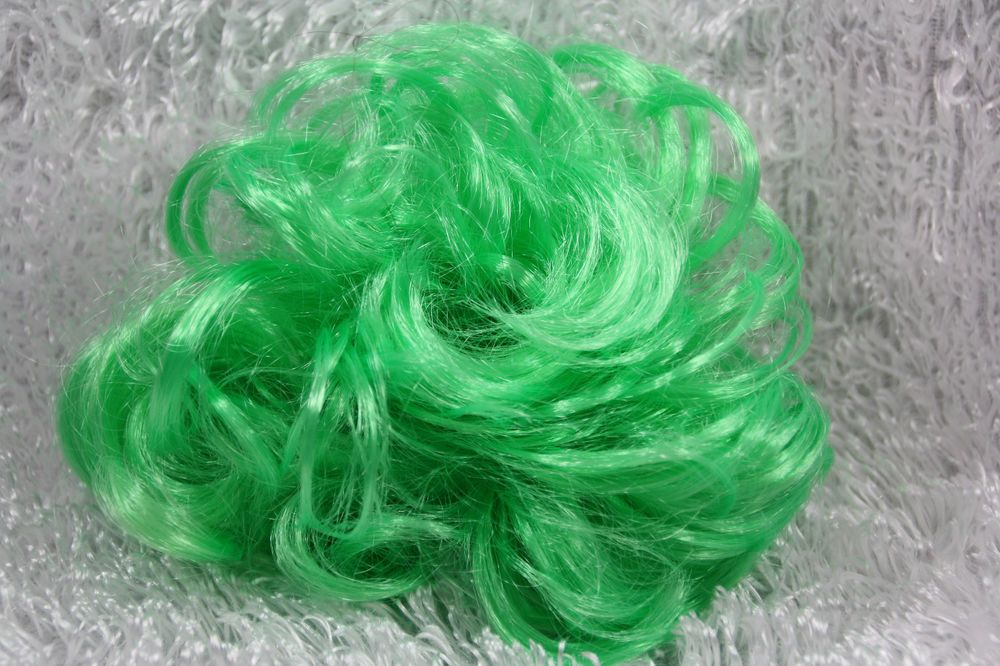 Curly fake faux hair pony tail extension pony-o scrunchie bright green stretchy  #MELODY #Ponytail