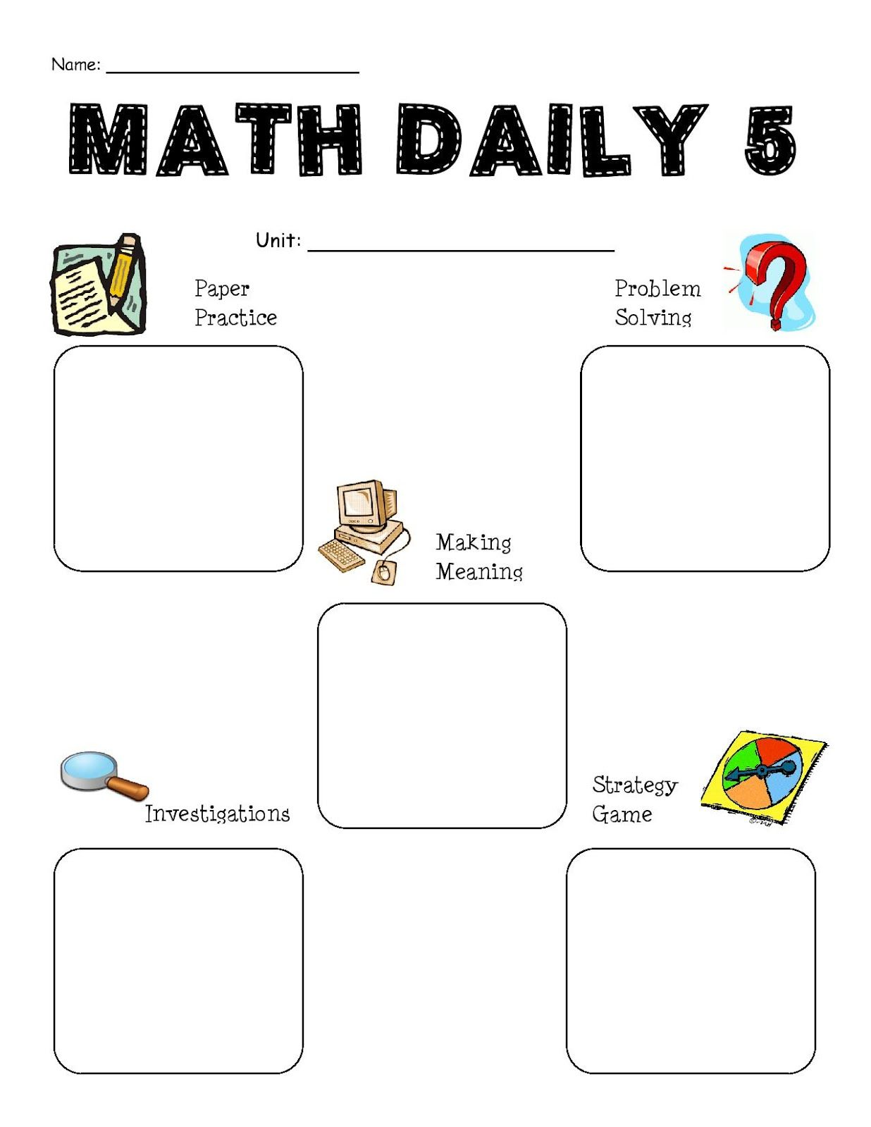 Math Daily 5 Planning Sheet