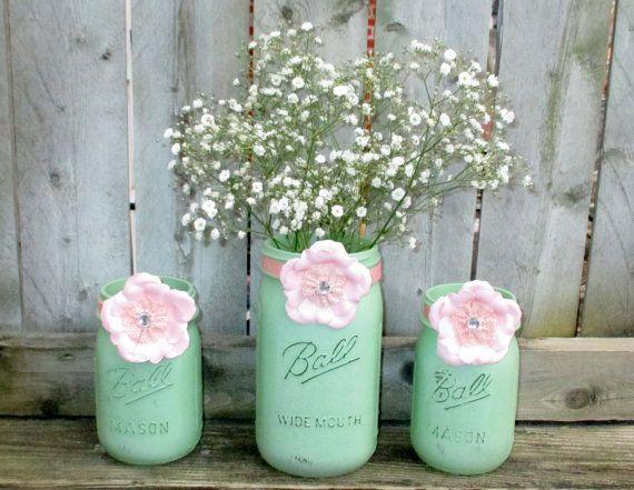 Wedding Centerpiece / Wedding Candle Holder / Mason Jar Decor / Mint Green  And Pink Wedding Decoration / Shabby Chic Wedding Decoration