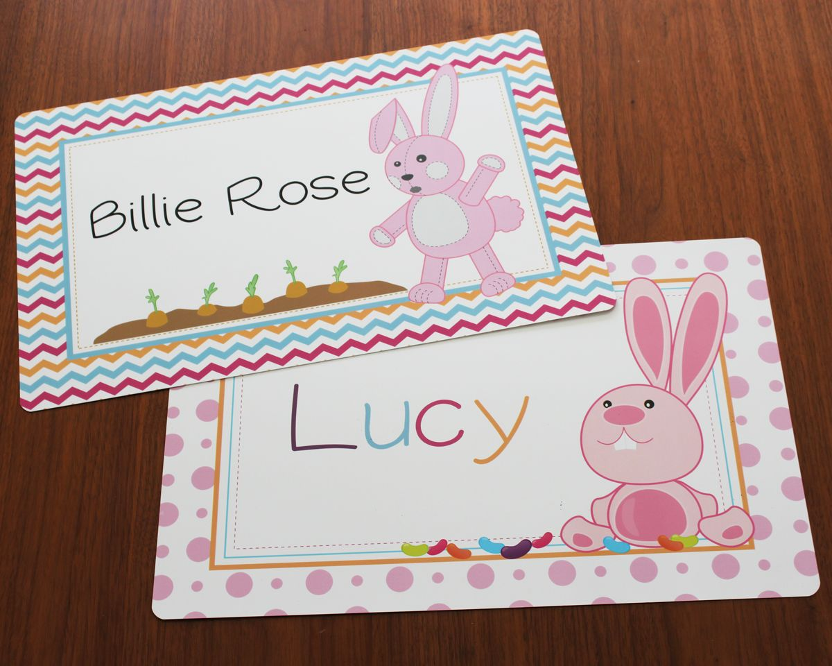 I Just Love These Two Pink Bunny Placemats For Kids Both