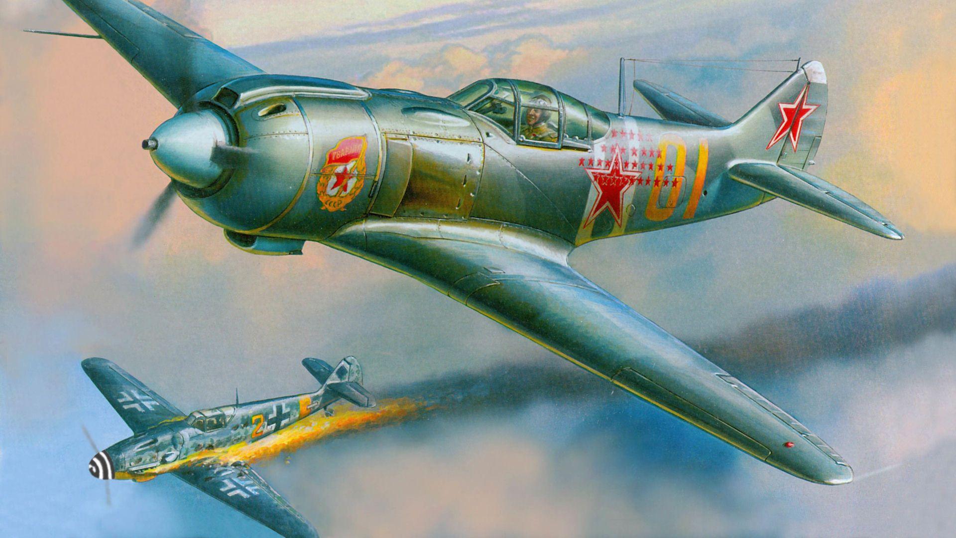 бой, bf.109g, ас, огонь, лавочкин, подбит, Ла-5фн ...