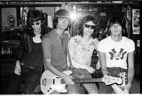 Ramones at the bar at CBGB's, photo by Chris Stein, ca 1974-75 • via Chris Stein
