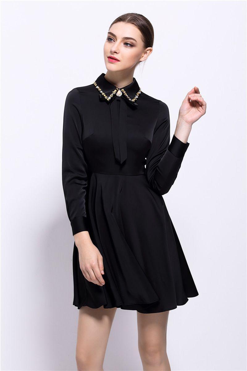 long sleeve satin dress mini