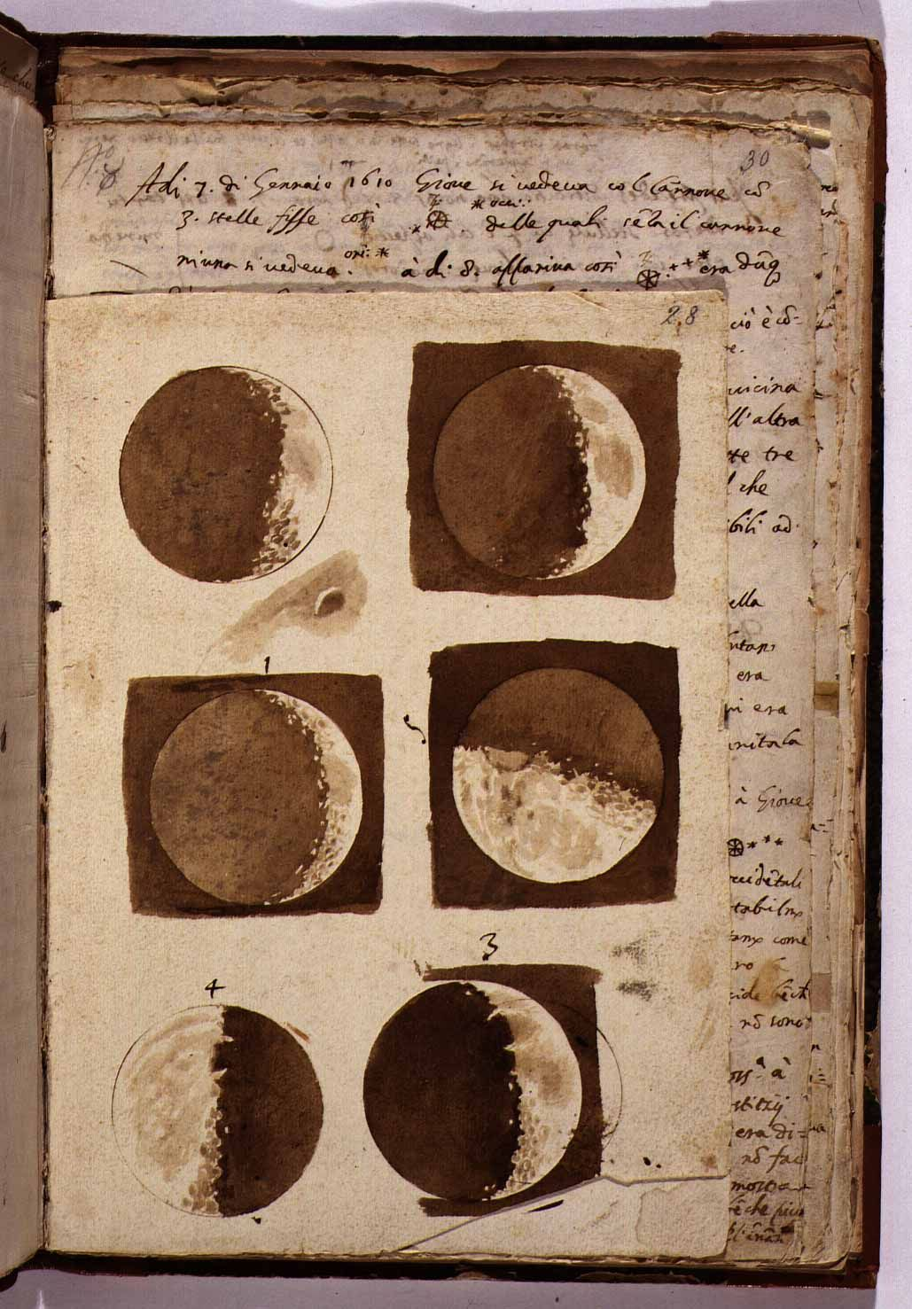 Libros De Galileo Drawings Of The Moon By Galileo Galilei January 7 1610 Libros