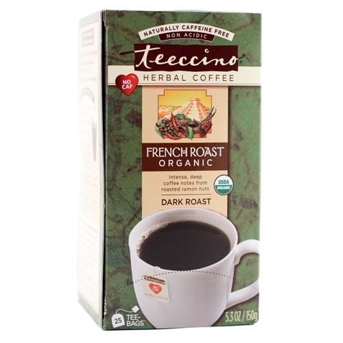 """French Roast Herbal """"Coffee"""" Tee-bags.  $10.99.  [coffee substitute; no caffeine, a ton of antioxidants potassium, fiber, & probiotic] Ingredients: Roasted organic carob, organic barley, organic chicory, organic ramon seeds, natural coffee flavor.  Have you smelled this stuff?  Divine!  @Sacha Anderson"""
