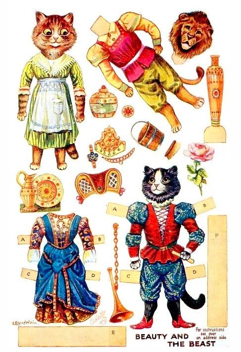 Beauty and the Beast Louis Wain Paper Dolls