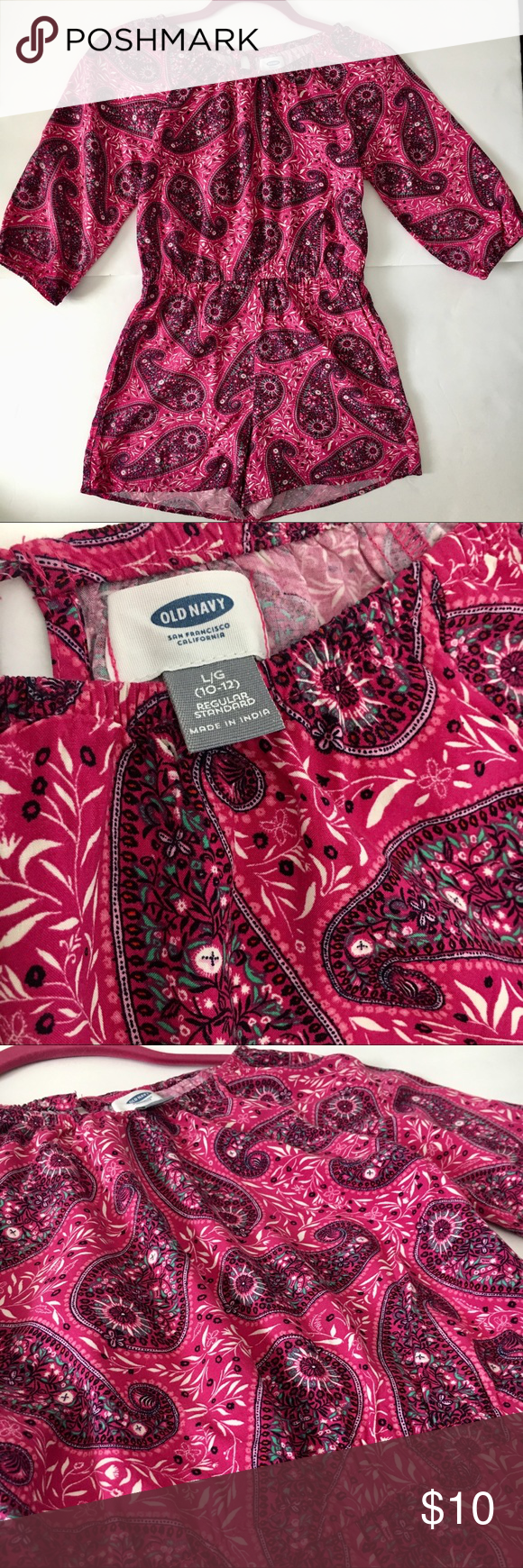 be3929b961 OLD NAVY girl s romper. Perfect for Summer! Beautiful Pink Paisley print.  3 4 sleeve. 100% Rayon Viscose. Preloved with no rips stains.