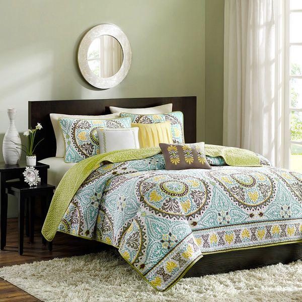 Microfiber Comforter Green Teal Brown Yellow Bedspread King Full